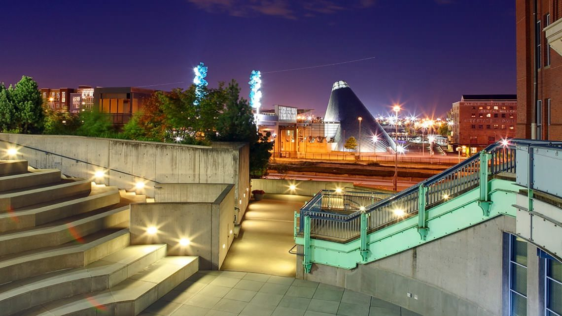 Glass Museum at Night in Tacoma